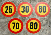 Yugoslavia - Set 5 Old Aliminum Traffic Signs For Large Vehicles - Speed Limit
