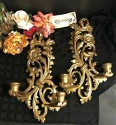 Giltwood Wall Candle Sconces 2 Antique Hand Made Gilt Gold Old Italy Rare