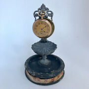 F315 Vintage Pocket Watch And Jewelry Holder Stand Case Collectible