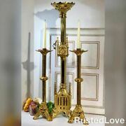 Antique Brass Gothic Revival Alter Candle Holders Candlesticks Set - 18.5 / 30