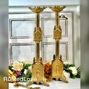 Antique Brass Ornate Church Candle Holders Religious 20 Old Candlesticks Pair