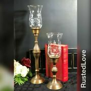 Brass Antiqued Candleholders With Glass Hurricane Shades 19 / 13 Set