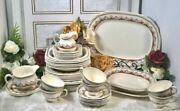 Wedgwood And Co Dishes Regent Rust / Yellow / Golds Square Dishes - 44 Pcs