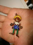 Vtg 60and039s Martine 14k Yellow Gold Round Ruby Multi Color Enamel Clown Brooch Pin