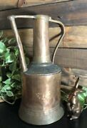Antique Watering Can Copper / Brass Hand Made Stamped Old 1800and039s Can