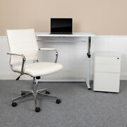 Work From Home Kit-adjustable Desk Leathersoft Office Chair Filing Cabinet