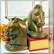 Bookends Antiqued Solid Molded / Cast Brass Horse Head Bookends / Paperweights