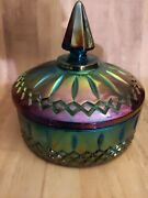 Vintage Indiana Blue Carnival Glass Iridescent Windsor Style Candy Dish Lid Mint