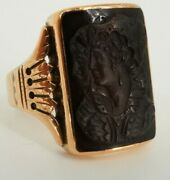 10k Yellow Gold Vintage Double Cameo Onyx Ring