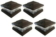 4 Pack 5x5 6x6 Solar Power Plastic Brown 5 Led Fence Post Cap Pathway Light