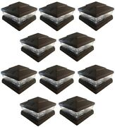 10 Pack 5x5 6x6 Solar Power Plastic Brown 5 Led Fence Post Cap Pathway Light