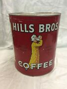 Vintage 15-lb Large 1936 Hills Bros Red Tin Key-wind Coffee Can