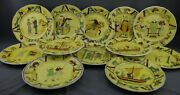Luneville Set 12 Bayeux French 1066 Porcelain Tapestry Medieval Plates 8 3/4