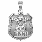 Police Mom Personalized Police Badge In Solid 10k, 14k Gold Or Sterling Silver