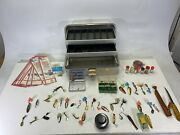 Lot Of Over 50 Pieces And Vintage Umco 132a 2 Tray Tackle Fishing Box Dardvelle