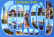 Greetings From Cape Cod, Massachusetts - 1930's - Vintage Postcard Poster