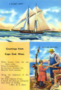 Greetings From Cape Cod, Massachusetts 2 - 1930's - Vintage Postcard Poster