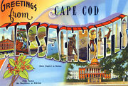 Greetings From Cape Cod, Massachusetts 3 - 1930's - Vintage Postcard Poster