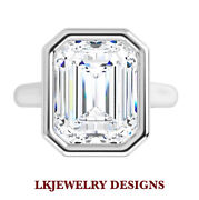 1.75 Ct Moissanite Emerald Forever One Colorless Bezel Solitaire Engagement Ring