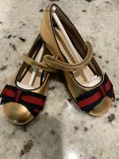 Ballet Flats In Gold Size 23 Toddler,m Size Us7