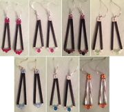 Teardrop Bugle Bead And Crystal Earrings - Ss Ear Wires - Choose From 7 Colors