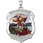 Saint Michael Badge - Solid 14k Yellow Or White Gold, Or Sterling Silver