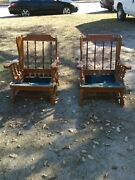 2 Vtg Mid Century Country Lodge Rustic Wingback Colonial Armchair Ethan Allen