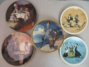 Norman Rockwell Set Of 5 Decorative Plates. All Kept In A Box With Certificates.