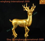 Rare Old Chinese Dynasty Bronze 24k Gold Gilt Lucky Animal Deer Sika-deer Statue
