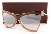 Brand New Tom Ford Sunglasses Tallulah Ft 0767 57g Rose Champagne/silver Mirror