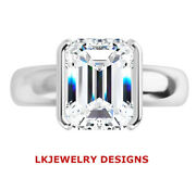 1.75 Ct Moissanite Emerald Forever One Def Semi Bezel Solitaire Engagement Ring