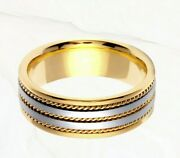 14k Gold And White Gold Two Tone Plain Flat Yellow Rope Sides Plain Wedding Band