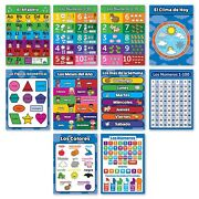 10 Spanish Educational Posters For Toddlers - Abc - Alphabet, Numbers 1-10, S...