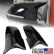 2x Gloss Black Side Mirror Cover Cap For Bmw F30 F31 F34 2012-2018 Brand New