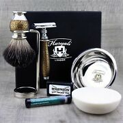 Antique Menand039s Grooming Shaving Kit 5 Pieces Traditional Home Use Razor And Brush