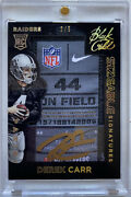 2014 Black Gold Derek Carr Laundry Tag Patch Rookie On Card Auto /5 Raiders Rc