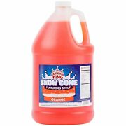 4 Pack 1 Gallon Orange Concession Stand Snow Cone Snowballs Beverage Syrup Mix