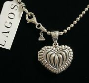 295 Lagos Silver Beloved Heart Locket 16 18 2.5mm Ball Chain Necklace Giftbox