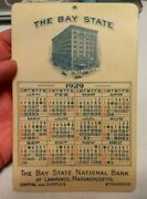 Vtg 1929 The Bay State National Bank Lawrence Ma Advertising Celluloid Calendar
