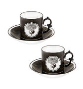 Herbariae Set 2 Coffee Cups And Saucer Black - Vista Alegre - Made In Portugal