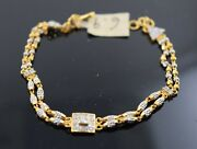 22k Bracelet Solid Gold Ladies Jewelry Modern Two Tone Link With Stones B4026