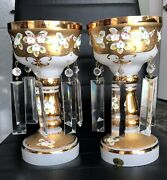 Antique Look Bohemian Czech Moser Glass 2 Candle Holder With Prism Crystals