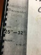 American Tool Works 25-32 Pacemaker Metal Lathe Parts Book Revision 38