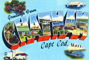 Greetings From Chatham, Cape Cod, Massachusetts - 1930's Vintage Postcard Poster