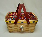 Longaberger 2008 Jelly Belly Fest Basket With Liner, Protector And Tie - On Signed
