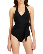 Onia Elena Bow-front V-neck One-piece Swimsuit Black Womenand039s Size S 2807