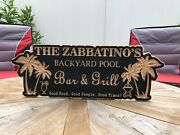 Backyard Pool Sign  engraved Bar And Grill Sign   Personalized Outdoor Sign  