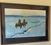 Joe Beeler Lithograph Numbered 261/500 Double Signed Framed And Matted 33 X 20