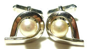 Vintage Collectible Mikimoto Sterling Silver Pearl Womens Cufflinks Set Pair