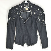 Tadashi Jacket Size 2 Black Lace Sequin Bling Design Evening Womens Snap Front